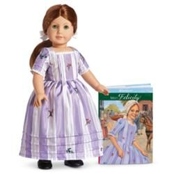 American Girl Doll Felicity Merriman in her new Meet Dress (formerly her Traveling Gown).