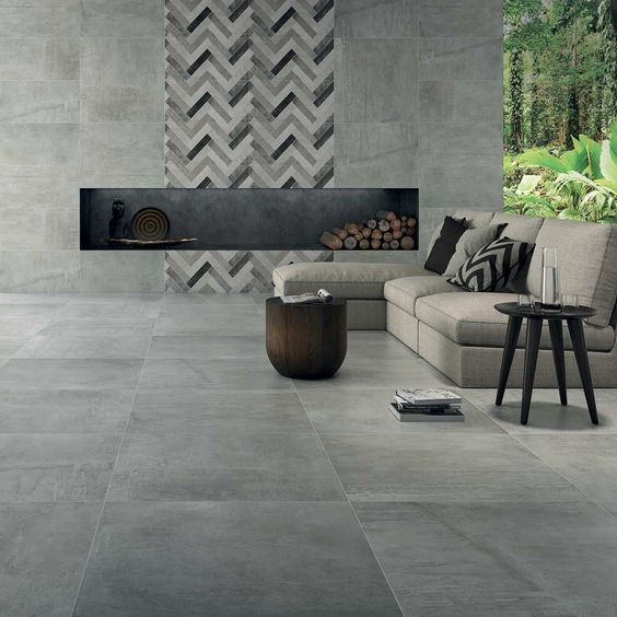 Herringbone Grey Mix Tiles Rebus Luxury Concrete Effect Tiles 800x400x10mm Tiles