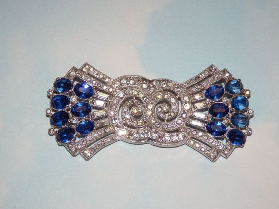 Vtg Deco Eisenberg Clear Sapphire Blue Rhinestone Pot Metal Snail Bow Brooch Pin #UnsignedEisenberg