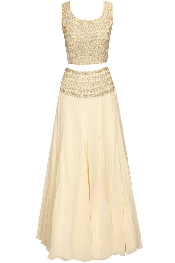 Cream sequins and cutdana embroidered lehenga set available only at Pernia's Pop-Up Shop. Pretty!!!!!