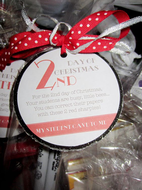12 days of Christmas for teachers. This site has some fun ideas for teacher gifts. I can see giving some away to co workers.
