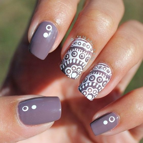 Gray nail - Violet gray and white nail art design. The lace nail art design in white polish looks very lovely on top of the violet gray nail polish combination as base color.