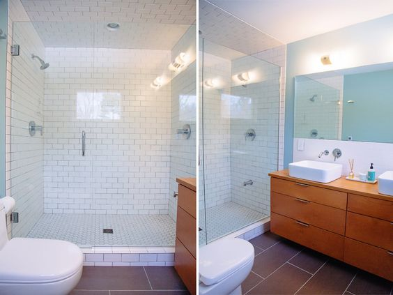 A Modern Take On A Mid Century Modern Master Bathroom Wood Cabinets Faux Wo