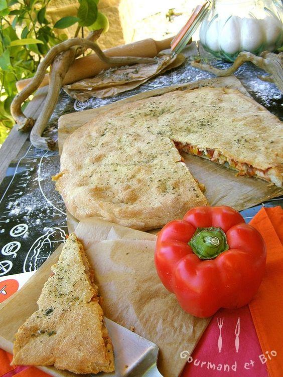 Gourmand et Bio - Focaccia à la scarmorza affumicata (fumée) et aux poivrons