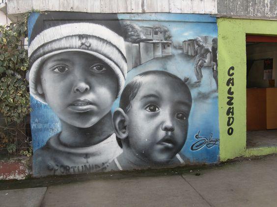 """Mural en """"Museo Cielo Abierto"""" San Miguel, Santiago"""