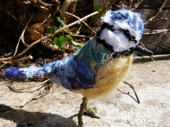 Blue tit bird soft sculpture made from by cornishcontemporary, £56.00