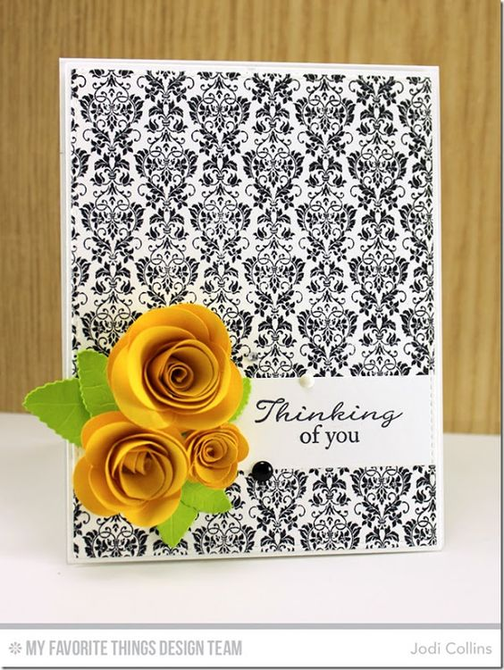 Grand Peaceful Wildflowers, Damask Background, Mini Rolled Roses Die-namics, Rolled Rose Die-namics, Royal Leaves Die-namics - Jodi Collins #mftstamps