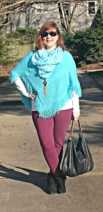 Teal and Burgundy, Winter Outfit, Over 40 Style., Burgundy Pants: