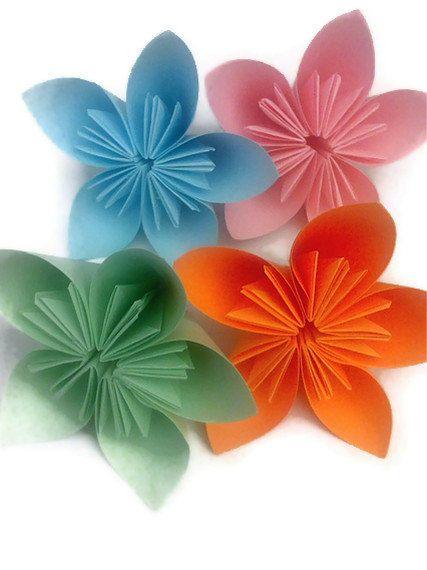 Kusudama Origami Paper Flowers Set of 4 by SimplyGreenDesigns