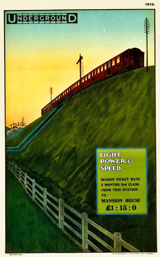 1910. Light, Power & Speed poster by Charles Sharland.