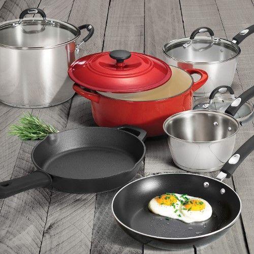 Tramontina 10 Piece Kitchen Essentials Multi Material Cookware Set Cookware Set Kitchen Essentials Kitchen Cookware Sets