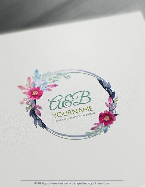 Free Vintage Logo Maker Flowers Frame Logo Design Template Vintage Logo Maker Frame Logo Floral Logo Design