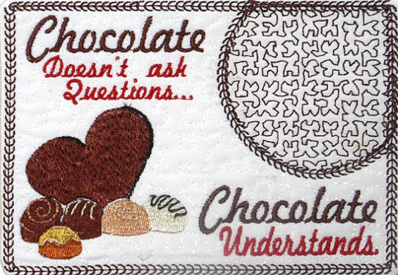 CHOCOLATE In The Hoop Embroidered Mug Mat by ITHMachineEmbroidery, $3.00