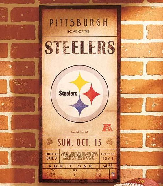 Pittsburgh Steelers Nfl Classic Ticket Wall Art Picture Sign Football Home Decor Unbranded Pittsburghsteelers