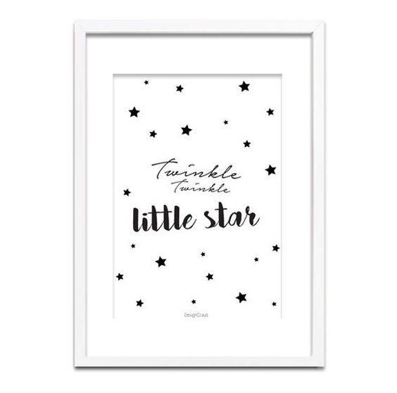 Quote Citaat Art Poster Print - Twinkle Twinkle Little Star - Zwart wit poster - Kinderkamer poster door DesignClaud op Etsy https://www.etsy.com/nl/listing/262603605/quote-citaat-art-poster-print-twinkle