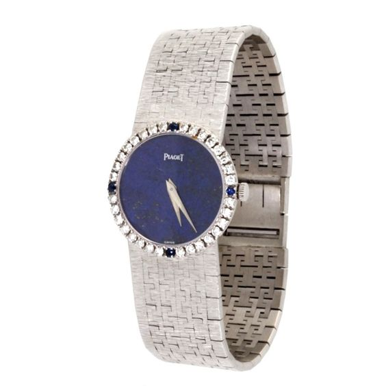 Piaget Lady's White Gold, Diamond and Sapphire Bracelet Watch   From a unique collection of vintage wrist watches at http://www.1stdibs.com/jewelry/watches/wrist-watches/