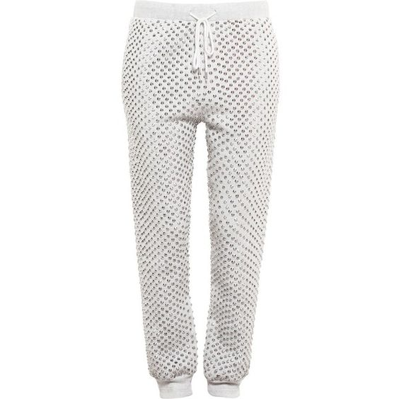Ashish Studded Joggers ($950) ❤ liked on Polyvore featuring pants, grey and ashish