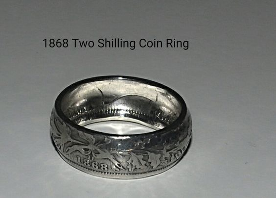 FOR SALE Very pretty Hand Crafted Coin Ring made from an 1868 Victorian one shilling coin. Size UK I. As with all British coins minted prior to 1919 it is .925 Sterling Silver. Price £15.00 Plus £2…