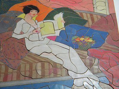 "Vintage Wooden Jig Saw Puzzle by Helen Dayden "" Art Deco Lady in White"" | eBay"