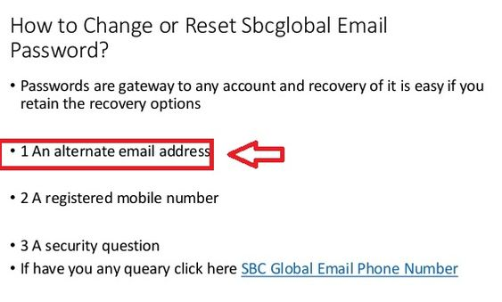 Reset SBCGlobal email password - Choose the alternate email id