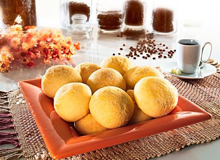 Pão de queijo - Cheese buns, or cheese breads are a variety of small, baked, cheese-flavored rolls, a popular typical snack and breakfast food in Brazil.