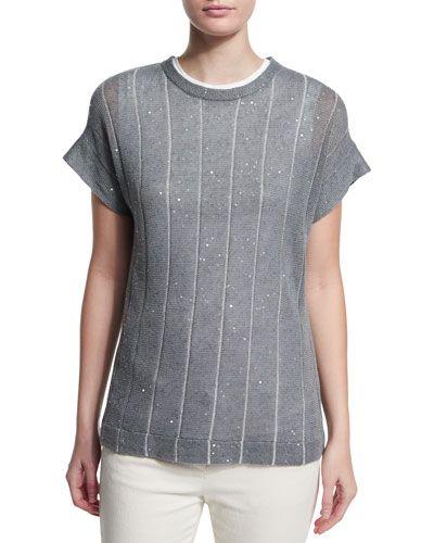 W0A4E Brunello Cucinelli Striped Paillette-Embellished Short-Sleeve Sweater, Slate