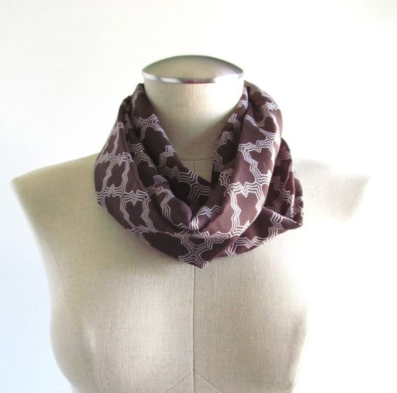 Brown Quatrefoil Infinity Scarf Brown Circle Scarf  by EyeCandy395, $18.00