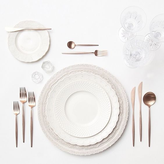 White Lace Chargers + White Collection Vintage China + Rose Gold Flatware + Czech Crystal Coupe Trio + Antique Crystal Salt Cellars | Casa de Perrin Design Presentation