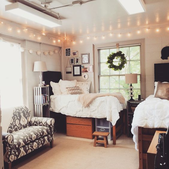 decoration: Lavish Ideas With Nity Floating Lamp On Large Cream Ceiling Above Wide Glass Window Beside Soft White Single Bed For Dorm Room Decor - Dorm Room Decor Ideas to Refresh Your Dorm Room, Homestoreky.com - Best Interior Design and Decorating Ideas