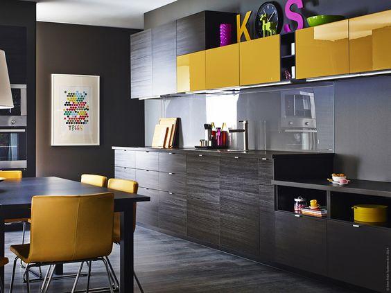 JÄRSTA accentlucka till METOD kökssystem är gul, glansig och en ...
