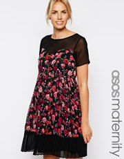 ASOS Maternity Skater Dress With Pleated Skirt In Rose Print