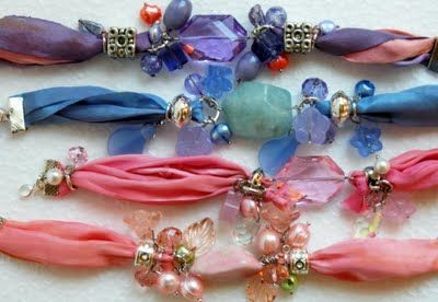 Fabric beaded bracelets. I was in Turkey last week and these were all the rage. I'm going to rummage for silky fabric scraps around the house and make a bunch!