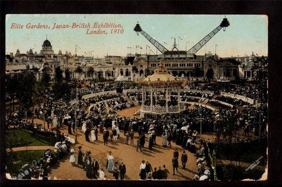 1910 Elite Gardens Japan British Exhibition London UK Exposition Postcard