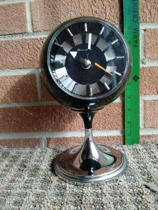 Vintage Mid Century Modern Bulova Atomic Age Tulip Clock Bulova Mid Century Clock Mid Century Desk Clock