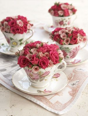 "Grayson Handy: For high tea use vintage flowery teacups filled with flowers. Tea roses are a perfect choice. Mis-matched teacups can be found in flea markets, or estate sales ~ ""Not only can these lovely little arrangements dress up any table, they can also serve as take-away gifts for your guests"":"