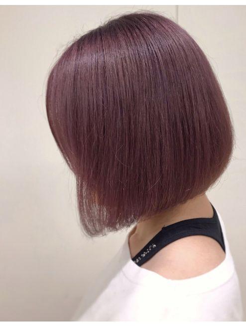 大人かわいいワンレンミニボブ ピンクグレージュカラー L037525195 モリオフロムロンドン 大宮店 Morio From London のヘアカタログ ホットペッパービューティー ヘアスタイル ロング 髪の長さ 髪 カラー