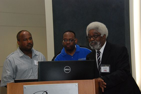 This year's IT Showcase Lunch was presented to Industry and #HSCC students participating in National BDPA's annual Regional #TECH Summit and 2015 #APBI (Advance Program Briefing to Industry.)  Above (L-R) Dr. Daryl Stone, Perry Carter, and Dr. Jesse Bemley. Photo by Catherine Williamson: bdpatoday © 2014
