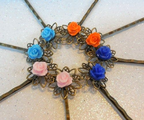 Bobby pins, tiny hair pins pretty colorful roses on brass base 8 ...