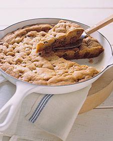 Big chocolate chip cookie baked in a skillet!  Great when you don't want to spend the time scooping all that dough!