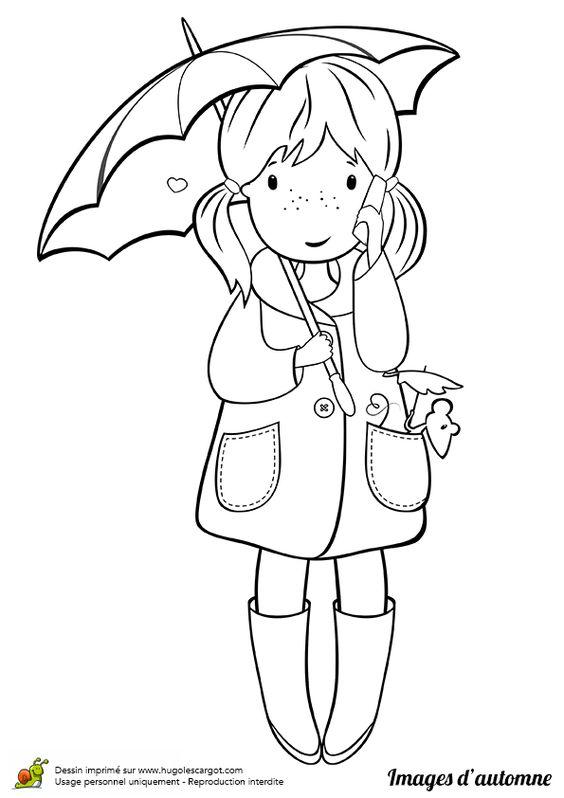 coloriage dessin automne fillette et parapluie - Parapluie Color
