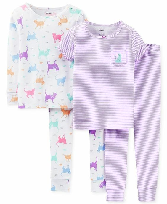 Cat Pajamas for Women | Carter's Baby Girls' 4-Piece Cat Pajamas ...