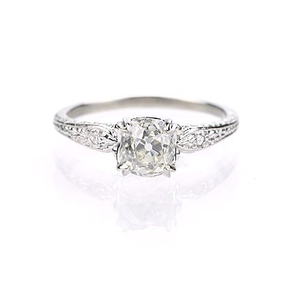 New York, NY Jewelry, engagement rings - Leigh Jay Nacht - Replica Art Deco Engagement Ring - 1908WS-08