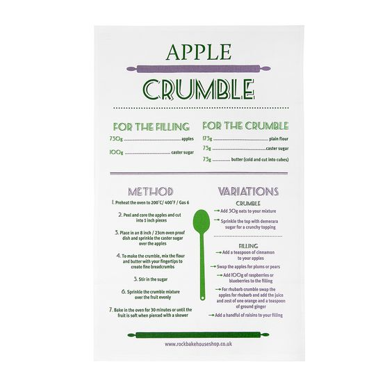 Be inspired for cooking? Apple Crumble Recipe Tea Towel by Rock Bakehouse £8.95 designed in United Kingdom. More details at http://www.purenchic.com/product/apple-crumble-recipe-tea-towel