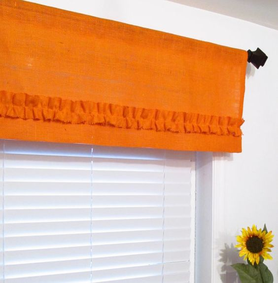 BURLAP Ruffled Valance Orange Rustic Curtain by supplierofdreams, $42.00