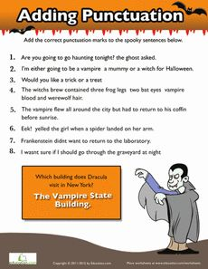 Printables Punctuation Worksheets High School student the ojays and halloween on pinterest students will love this worksheet they can practice punctuation with sheet at end