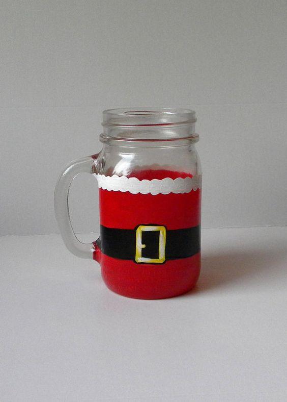 Mason jar mugs christmas mason jars and mason jars on for Christmas glass jars