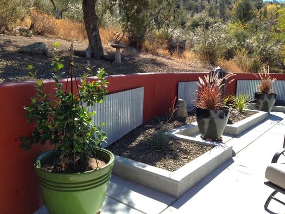 corrugated metal retaining wall accents