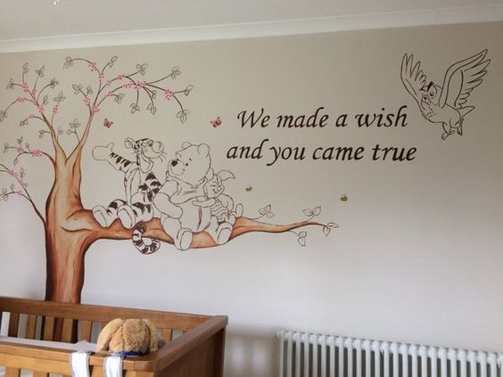 Winnie the pooh nursery murals for Baby room wall mural ideas