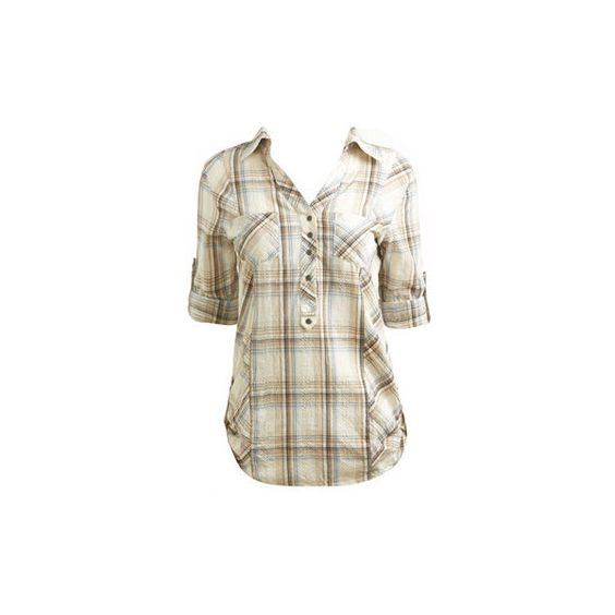 Plaid Button Front Tunic - Women's Clothing and Apparel - Chic... ($39) ❤ liked on Polyvore featuring tops, tunics, shirts, blusas, blouses, arden b tunic, tartan plaid shirt, plaid tunic, white denim shirt e plaid shirt