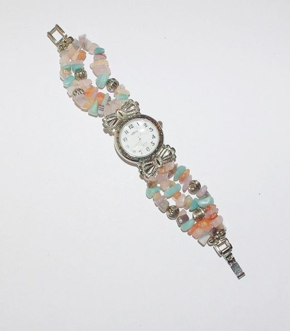 Gemstone Watch Bracelet  HAS NEW BATTERY  S459 by SCLadyDiJewelry
